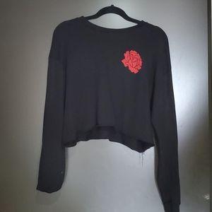 FASHIONNOVA Black Longsleeve Crop Top